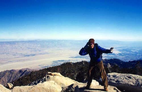 San Jacinto Peak, 10,834\',  bracing against the tempest
