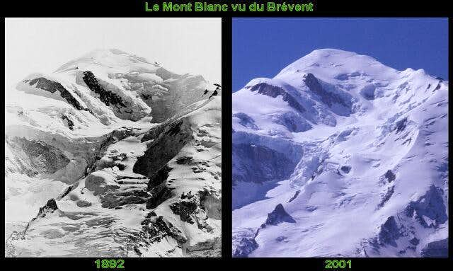 The Mont Blanc in 1892 and in...