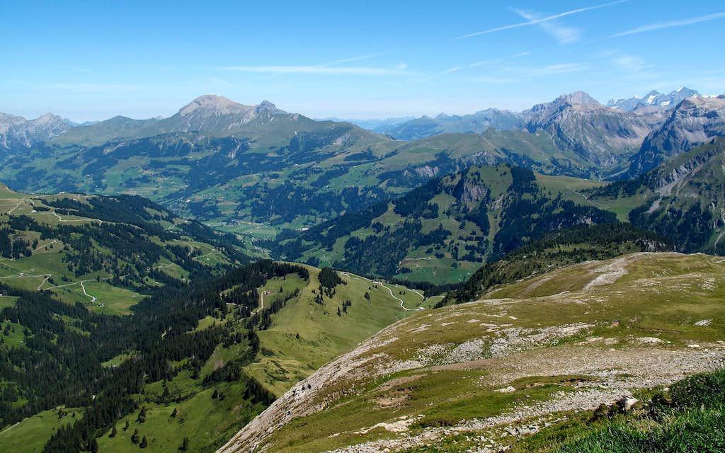 View to Albrist (2761 metres), Lohner (3049 metres), Eiger (3970 metres) and Blümlisalp (3664 metres)
