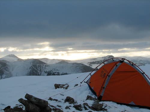 Base Camp on a ridge of Uncompahgre
