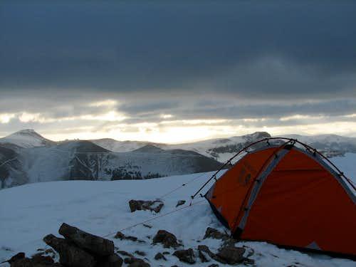 Base Camp on a ridge of Uncompahgre