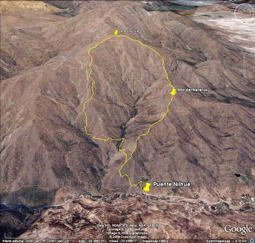 Track of the Cerro Provincia hike