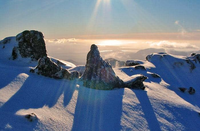 Rare winter Sunshine on Snowdon