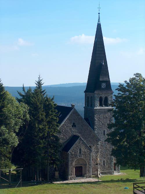 Zieleniec church, in the Góry Orlickie mts.