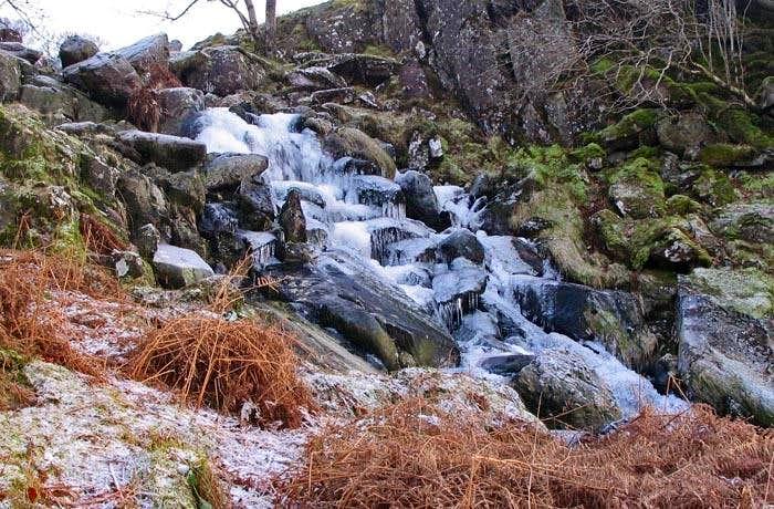 Frozen waterfall in the Moelwyns