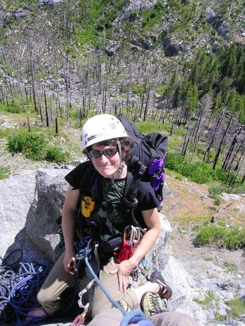 "Natasha at belay ""ledge"" atop..."
