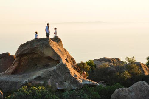 Watching the sunset atop Meilee Boulder