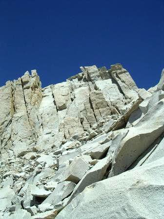 Looking up at the rock face...