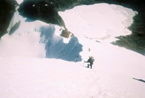 down climbing from the summit