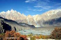 Passu Cathedral Peak 6106-M & Hunza River during Autumn