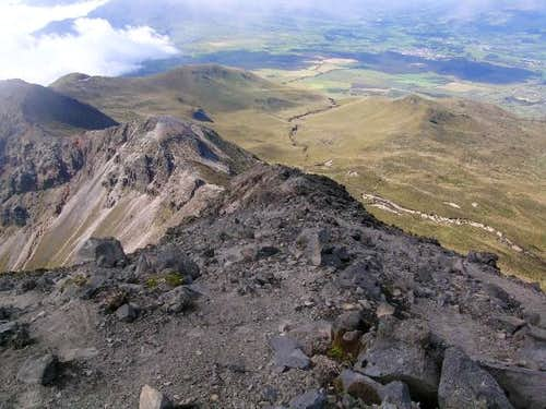 Looking back down the crater...