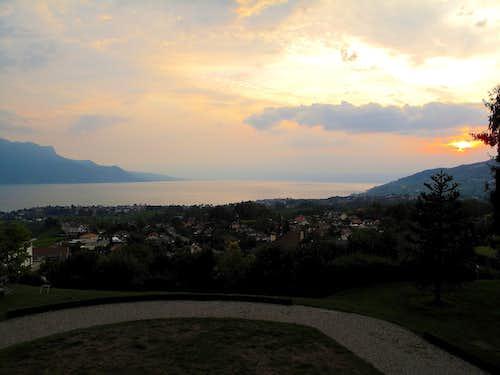 Sunset over the lake of Geneva