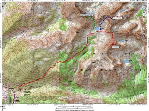 A Topo! map depicting routes...