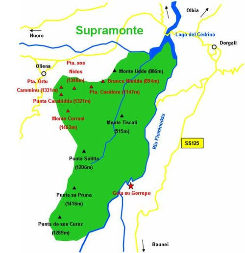 Handdrawn map of Supramonte....