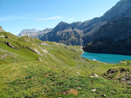 The Iffigsee lake and the Wildstrubel (3243 metres) behind