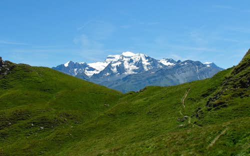 The Grand Combin (4314 meters) as seen from the Marlenaz