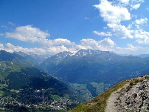 View from the Pierre Avoi to the Grand Combin and up the Val de Bagnes