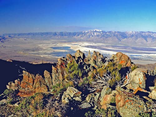Owens Lake and Olancha Peak from Inyo crest