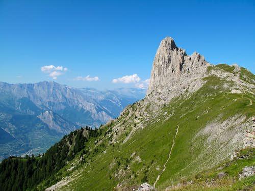 The Pierre Avoi (2473 metres) above the Valais Rhône valley