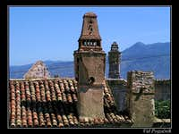 Old chimneys on the roofs of...