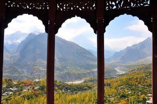 View of Hunza Valley from Baltit Fort during Autumn