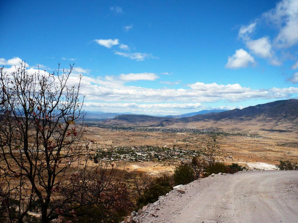 View of Mitla from the road to Hierve El Agua