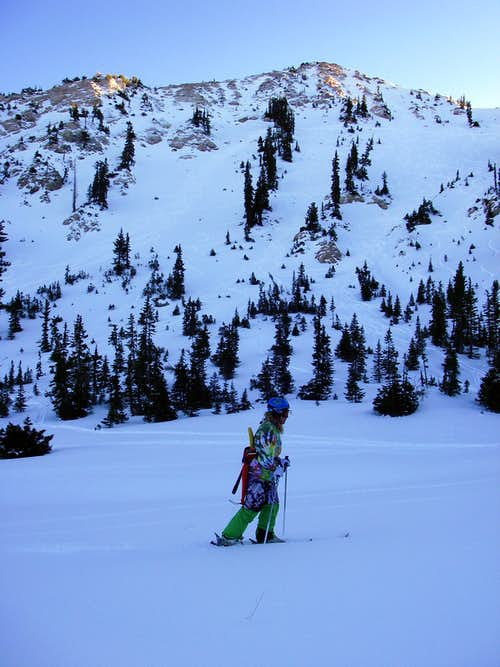 Troy skinning up for more of Sunset Peak