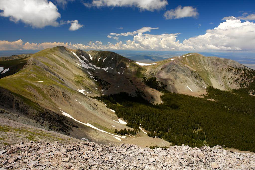 Venado and Virsylvia Peaks from Latir Peak