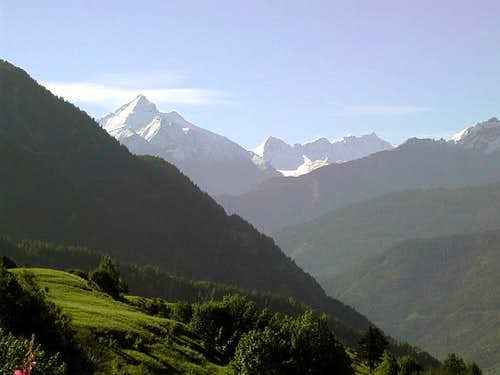View of Grivola and Gran Paradiso range from the
