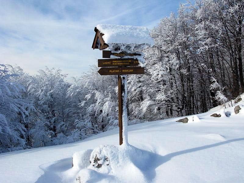 Sign post at Rimska Vrata pass