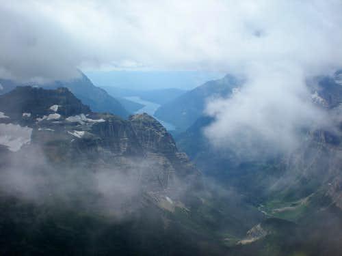 Bowman Lake through the Clouds