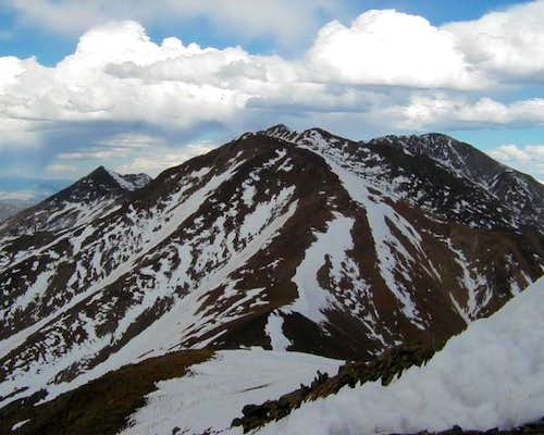 Tabeguache Peak (center) and...