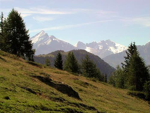 Court de Bar and Gran Paradiso range from the route to Colle Fetita