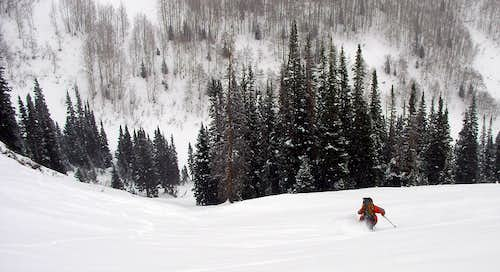 Me skiing down North Willow