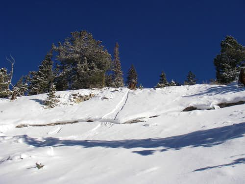 A large slide on a small west facing roll over in Silver Fork