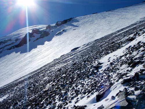Crossing the final summit glacier