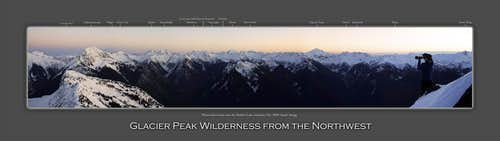 Glacier Peak Wilderness labeled panorama