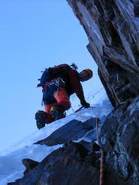 Christoph climbing mixed terrain on the PB traverse