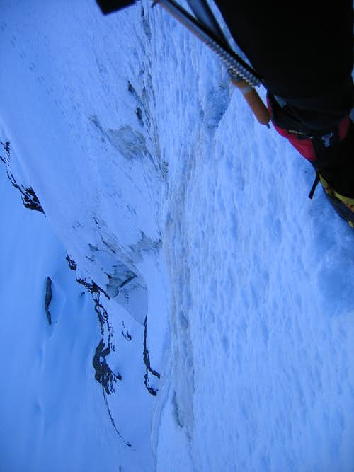 looking down from the belay,middle of the face