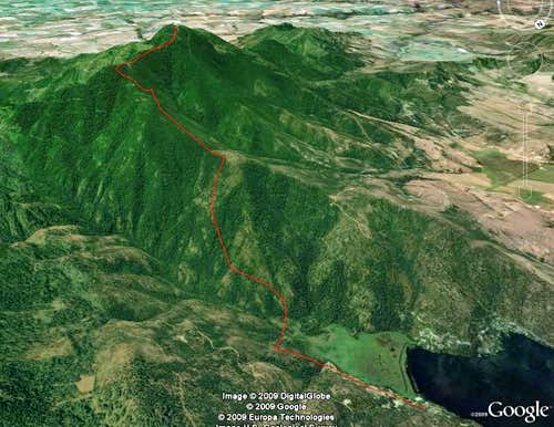 Mica Peak, Google Earth view