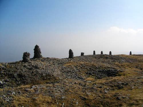 Cairns on the summit plateau of Wild Boar Fell