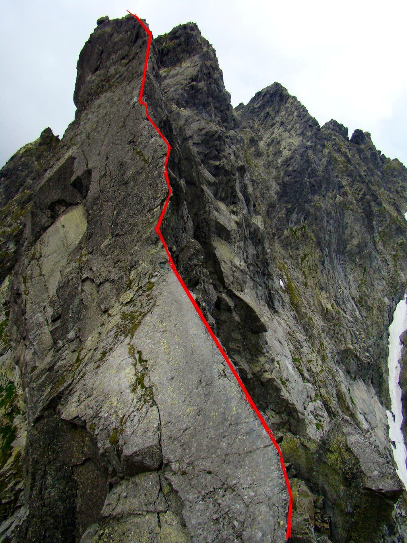East ridge - red line