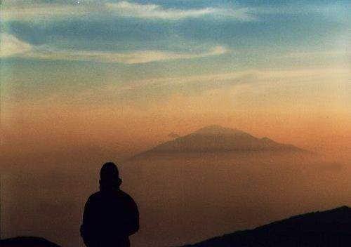 Sunset behind Meru seen from...