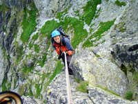 Rappel from West Ridge in descent