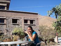 Girlfriend having breakfast in front of the hôtel Soleil
