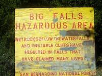 Big Falls Sign