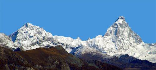 Dent d'Hérens and Matter  Horn from Mount  Corquet