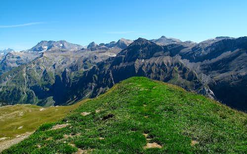 View to Blümlisalp (3664 meters), Wildstrubel (3243 meters), Weisshorn (2947 meters) and Rohrbachstein (2950 meters)