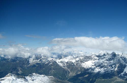 Panoramic view of Mont Blanc from Matterhorn