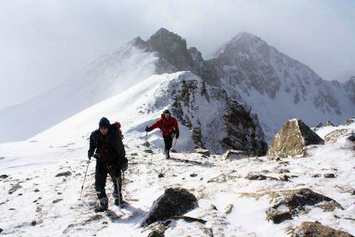 Mount Harvard's South Ridge in Winter